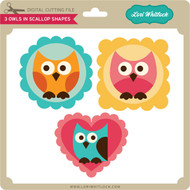 3 Owls in Scallop Shapes