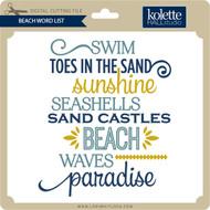 Beach Word List