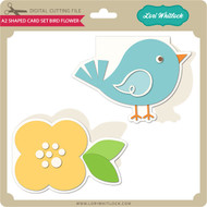 A2 Shaped Card Set Bird Flower