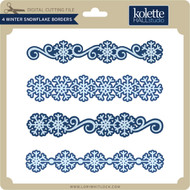 4 Winter Snowflake Borders
