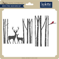 Birch Tree Deer Bird Set