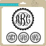 Monogram Script Scalloped Circle Font