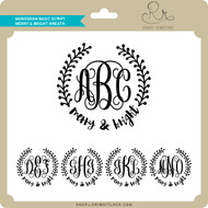 Monogram Basic Script Merry & Bright Wreath