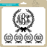Monogram Elaborate Script Bow Wreath