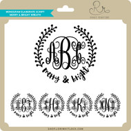 Monogram Elaborate Script Merry & Bright Wreath