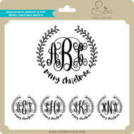 Monogram Elaborate Script Merry Christmas Wreath