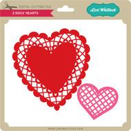 2 Doily Hearts