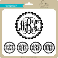 Monogram Script 2 Scalloped Circle