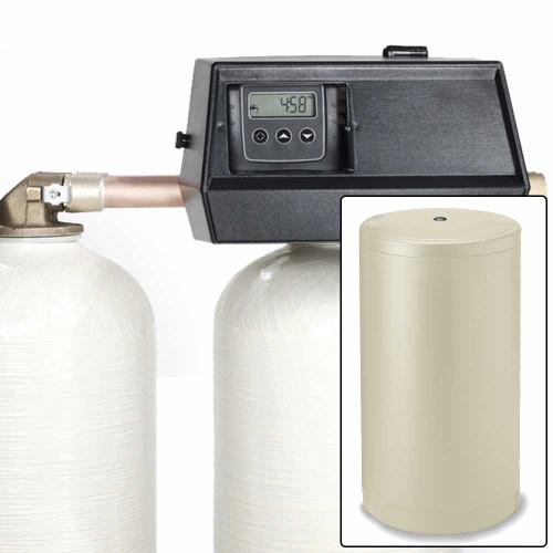 64k Digital Dual Tank Alternating IRON PRO Water Softener with Fleck 9000SXT - Removes Iron, Manganese, and Hardness