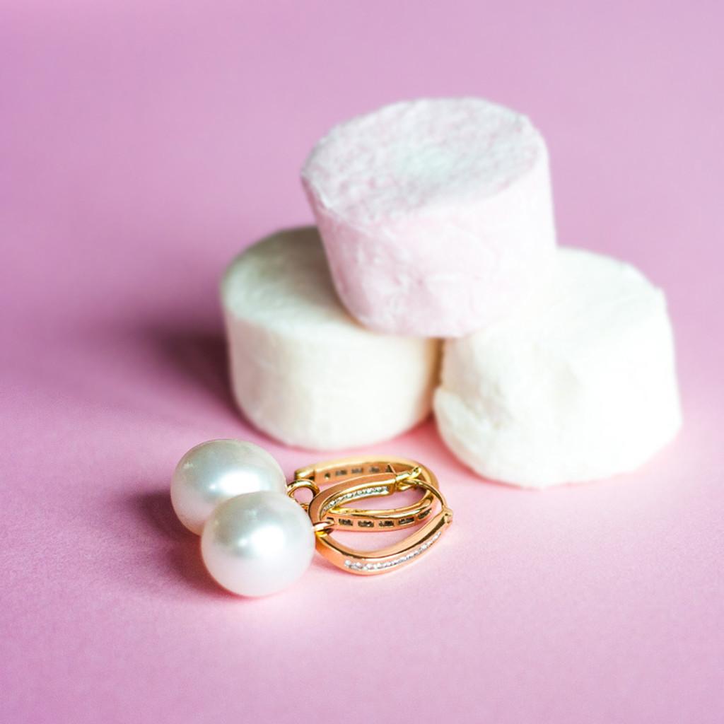 Diamond Hoop Yellow Gold Earring with Pearl