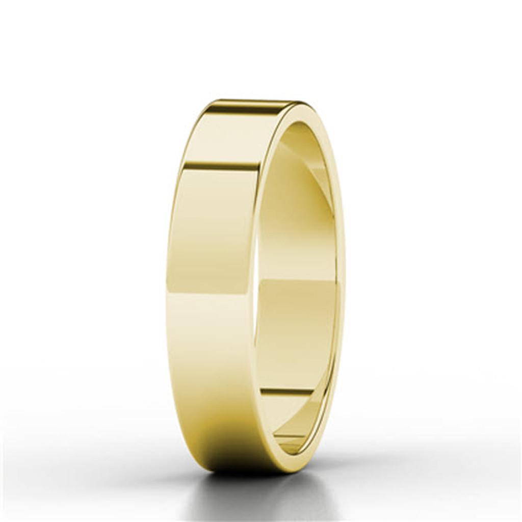 Round Brilliant Cut Blue Sapphire Wedding Ring (Yellow Gold)