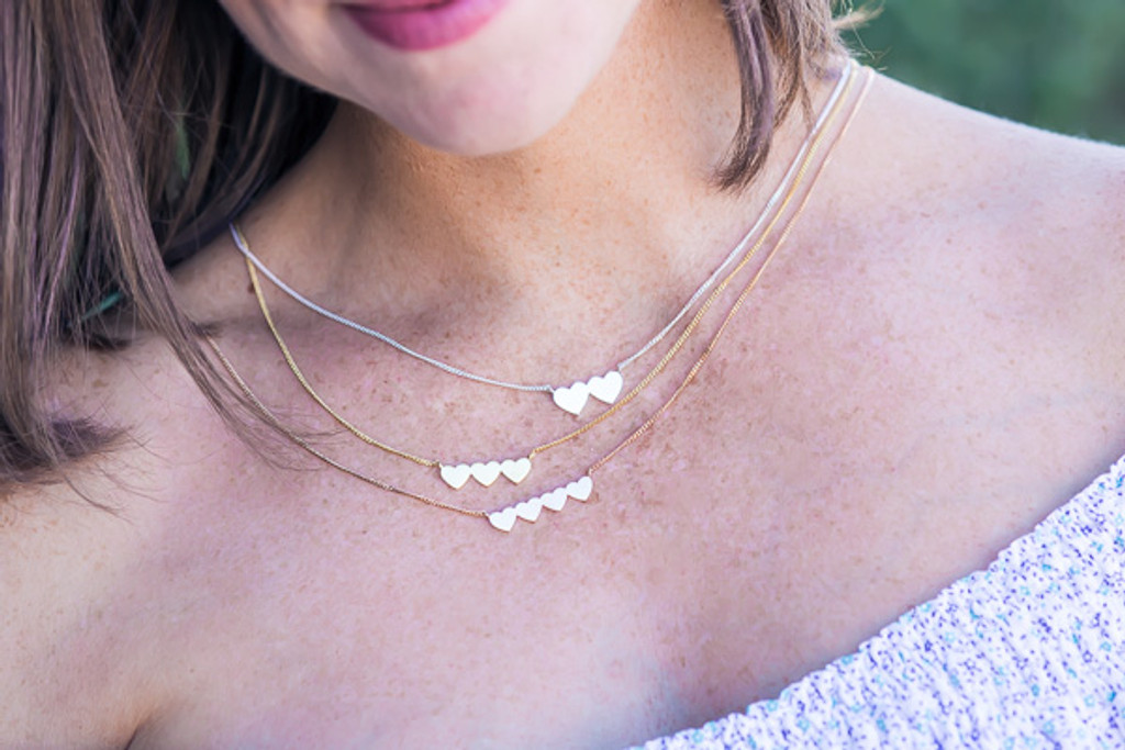 Four Joined Hearts Necklace - 9ct Rose Gold