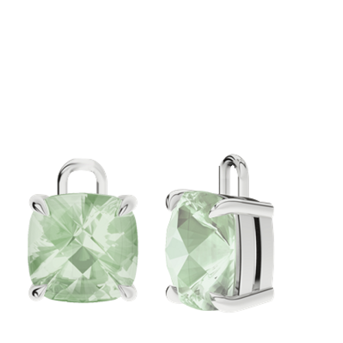 Green Amethyst 9ct White Gold Checkerboard Earrings - Drops Only