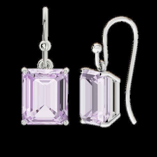 Pink Amethyst Sterling Silver Drop Earrings