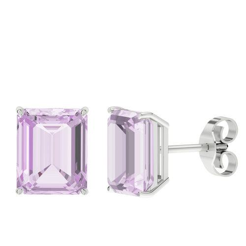 Pink Amethyst Emerald Cut Sterling Silver Stud Earrings