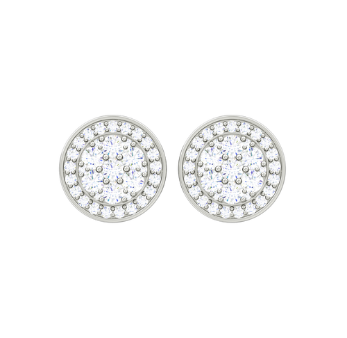 Double Halo Pave Diamond Stud Earrings - 18ct white gold