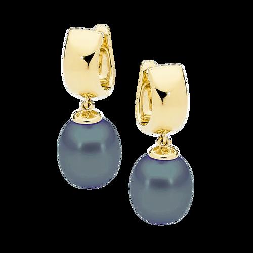 9ct Yellow Gold Black Drop Pearl Earrings