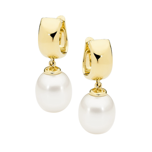 9ct Yellow Gold White Drop Pearl Earrings