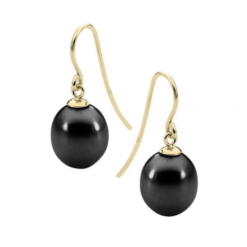 Black Pearl 9ct Yellow Gold Drop Earrings
