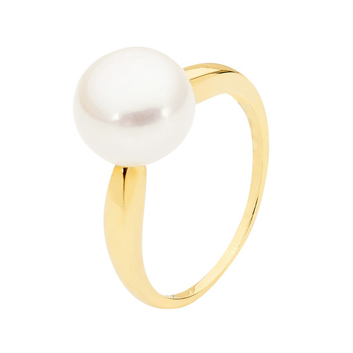 9ct Yellow Gold 9mm White Button Pearl Ring