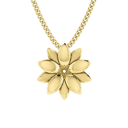 Lotus Flower Necklace -9ct Yellow Gold