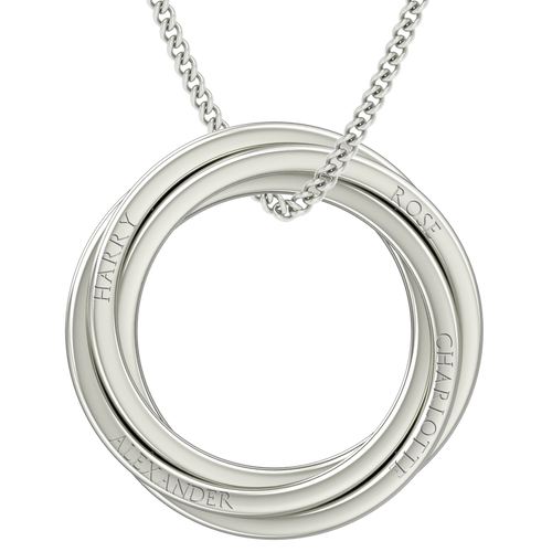 Russian Rings Necklace - the 'Catherine' - 14ct White Gold