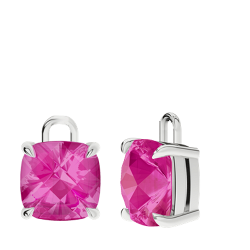 Pink Sapphire 9ct White Gold Checkerboard Earrings - Drops Only