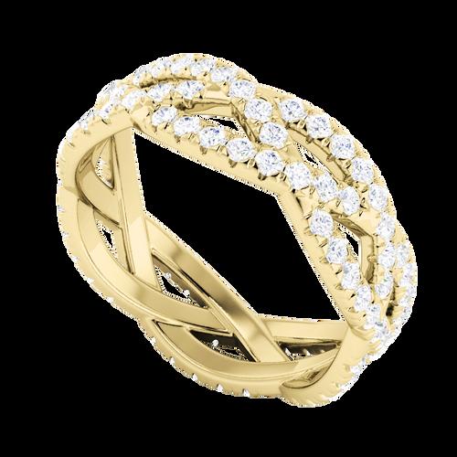 Diamond Woven Ring (Full) 9 Carat Yellow Gold