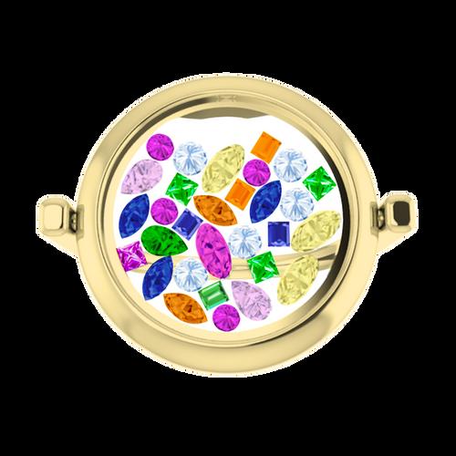 Rainbow Gemstone Glass Ring 9 Carat Yellow Gold