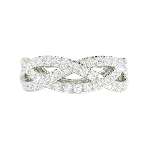 Diamond Woven Ring (Half) 18 Carat White Gold