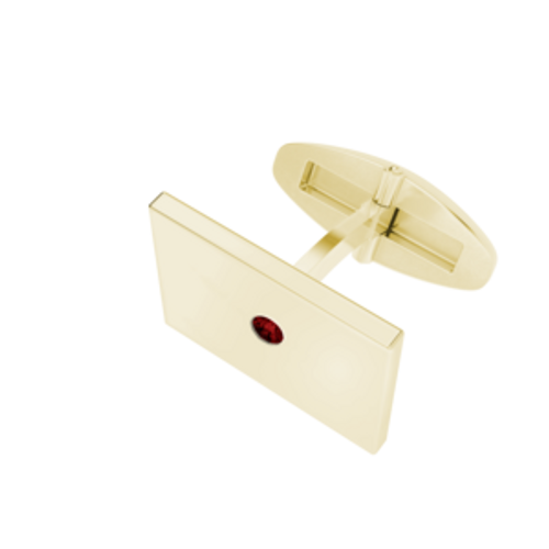 Rectangular Cufflinks Yellow Goldplate With Garnet Birthstone