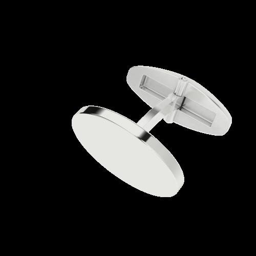 Cufflinks- Silver No Plating High shine Men's 16mm Oval Cufflinks with