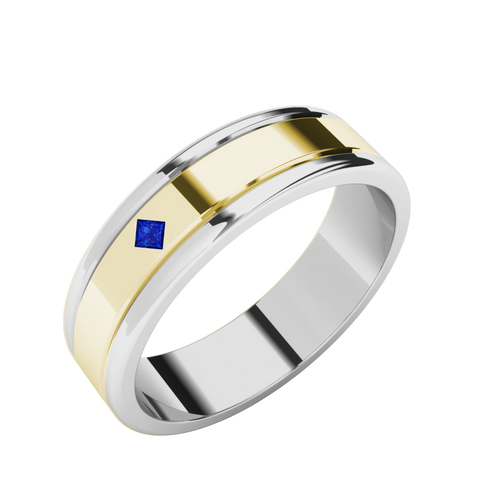 Sapphire Two-Tone Wedding Ring - 9ct Yellow Gold with White Gold