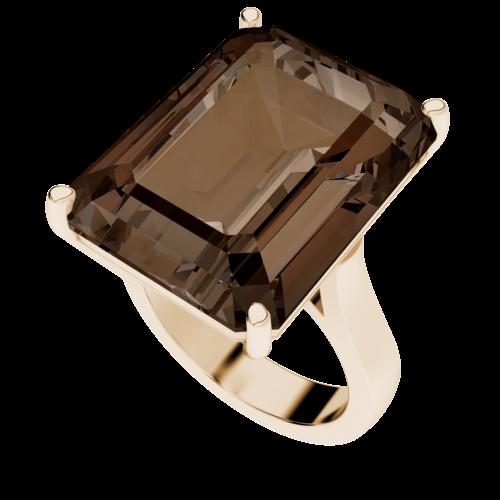 Emerald Cut Smoky Quartz Rose-plated Ring