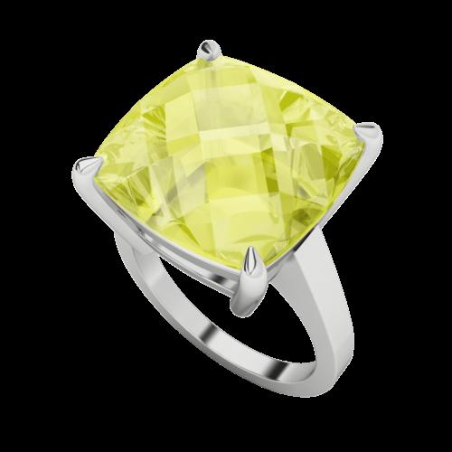 Lemon Quartz Checkerboard 9ct White Gold Ring