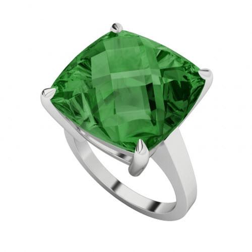 Emerald Checkerboard 18ct White Gold Ring
