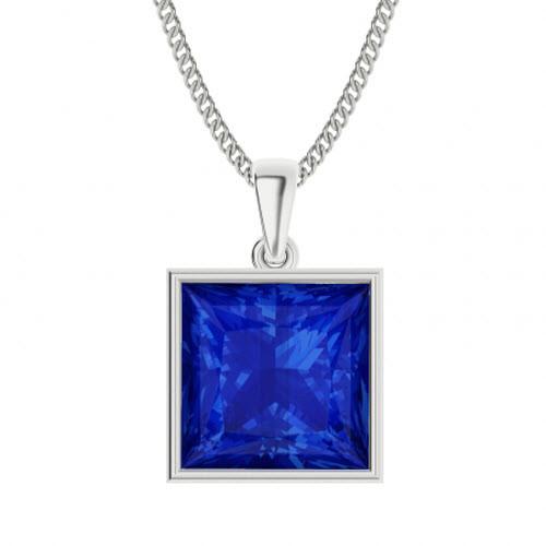 Princess Cut Blue Sapphire Sterling Silver Necklace