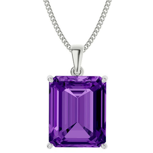 Emerald Cut Amethyst Sterling Silver Necklace