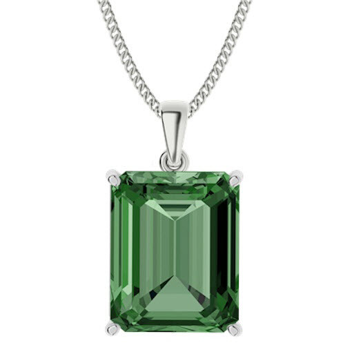Emerald Cut Emerald Sterling Silver Necklace