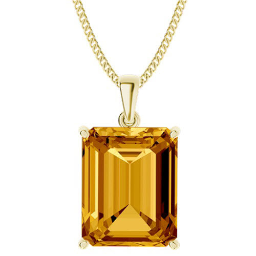Emerald Cut Citrine Necklace Yellow Goldplate