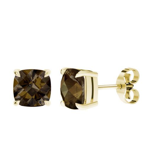 Smoky Quartz Yellow Gold Checkerboard Stud Earrings