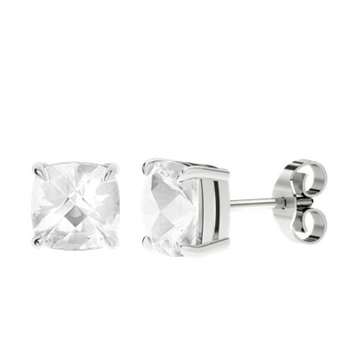 White Quartz Cushion Checkerboard Silver Stud Earrings