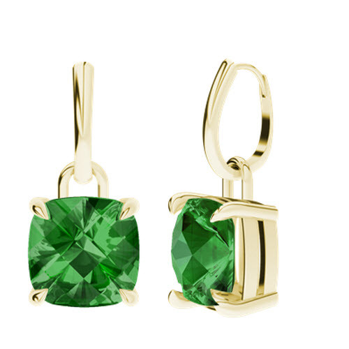Emerald 9ct Yellow Gold Checkerboard Drop Earrings