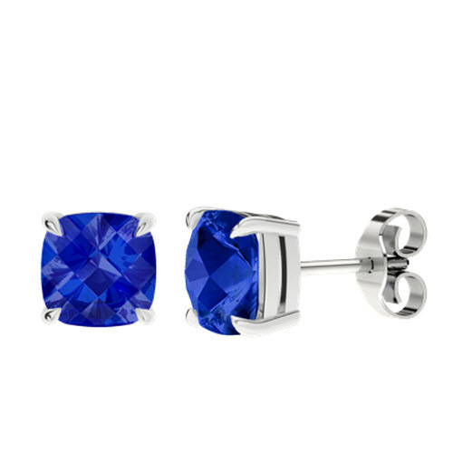 Blue Sapphire Checkerboard Silver Stud Earrings