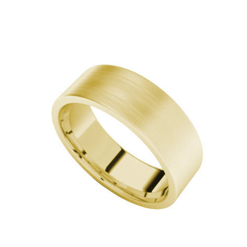 Brushed Wedding Ring with Flat Profile (Yellow Gold)