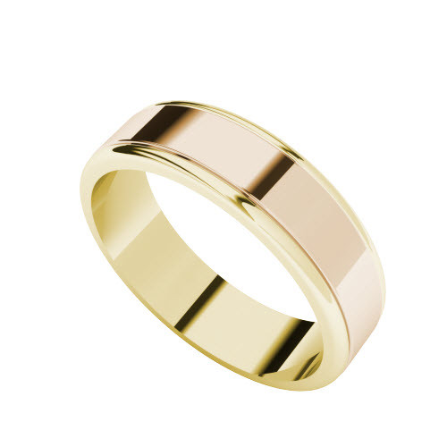 Two-Tone Wedding Ring - 9ct Rose Gold with Yellow Gold