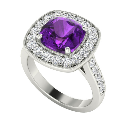 Cushion Diamond Halo Ring with Amethyst 18ct White Gold