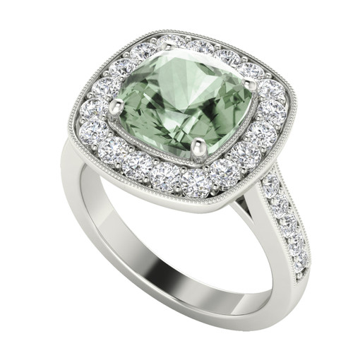 Cushion Diamond Halo Ring with Green Amethyst 18ct White Gold