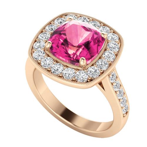 Cushion Diamond Halo Ring Spinel 18ct Rose Gold