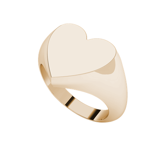 Heart Signet Ring 9ct Rose Gold